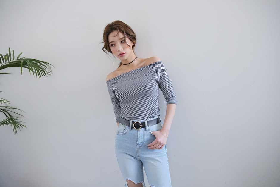 stylenanda casual striped off shoulder top trend alert kfashion